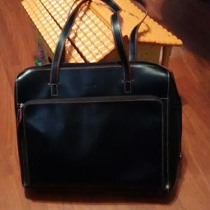 Lodis laptop bag business tote black leather